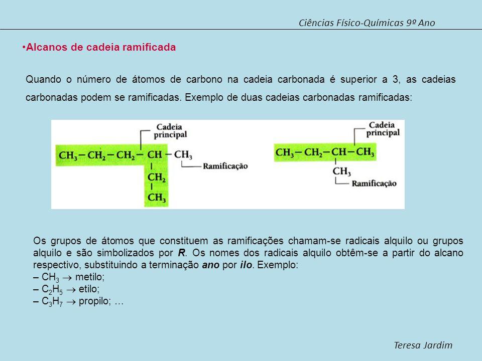 Ciências Físico-Químicas 9º Ano Teresa Jardim Alcanos de cadeia ramificada 1ª Para dar o nome aos alcanos de cadeia ramificada, escolhe-se, para cadeia principal a que contém maior número de átomos de carbono.