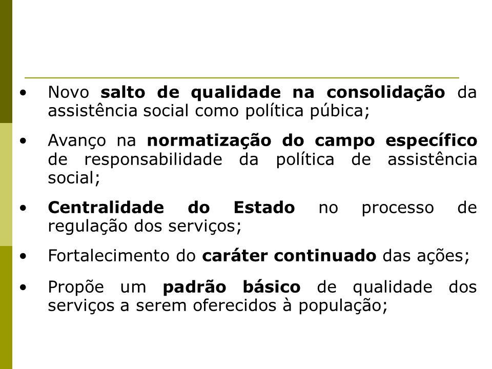 Novo salto de qualidade na consolidação da assistência social como política púbica; Avanço na normatização do campo específico de responsabilidade da