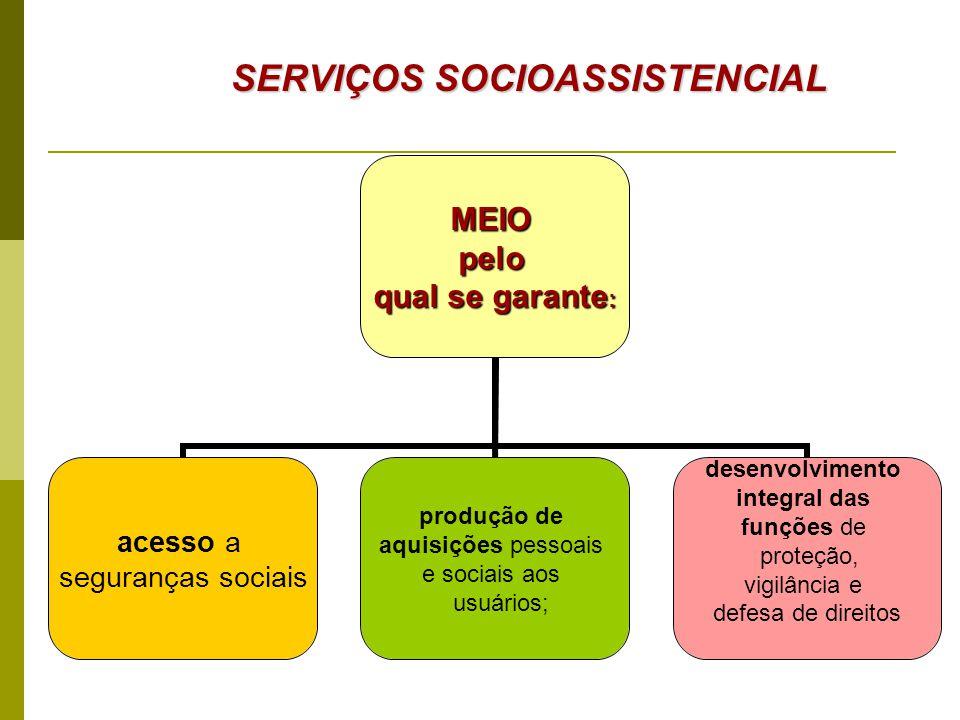 MEIOpelo qual se garante: acesso a seguranças sociais produção de aquisições pessoais e sociais aos usuários; desenvolvimento integral das funções de