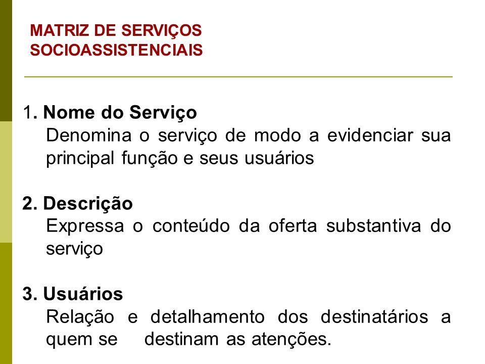 1. Nome do Serviço Denomina o serviço de modo a evidenciar sua principal função e seus usuários 2. Descrição Expressa o conteúdo da oferta substantiva