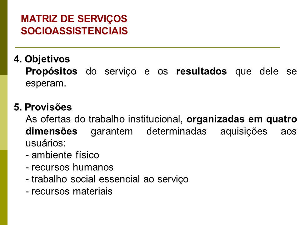 4. Objetivos Propósitos do serviço e os resultados que dele se esperam. 5. Provisões As ofertas do trabalho institucional, organizadas em quatro dimen