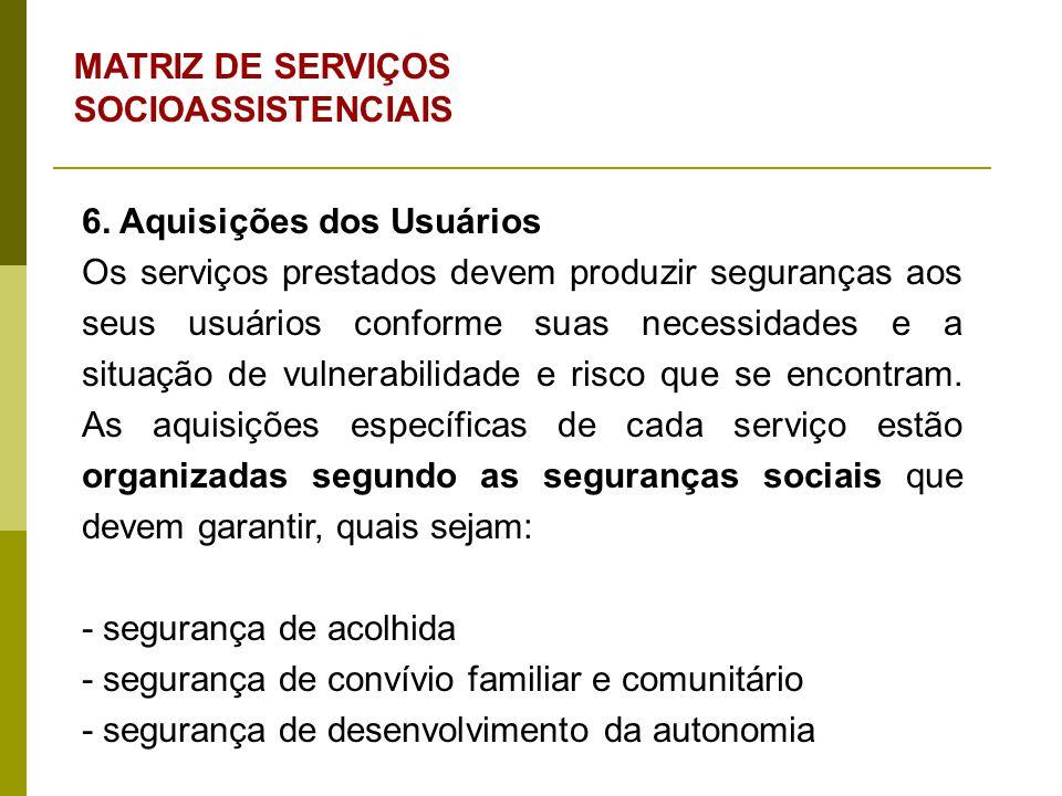 6. Aquisições dos Usuários Os serviços prestados devem produzir seguranças aos seus usuários conforme suas necessidades e a situação de vulnerabilidad