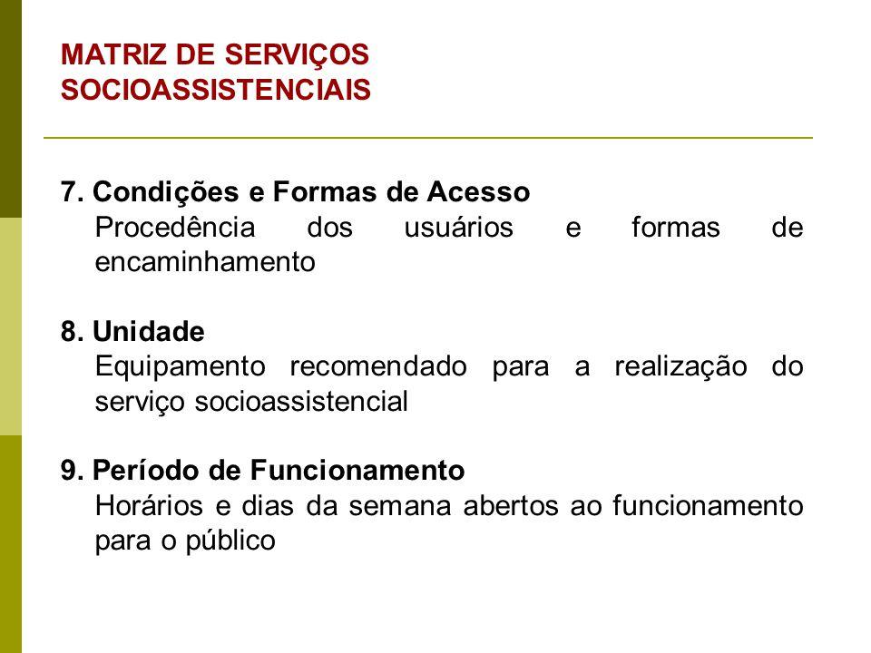 MATRIZ DE SERVIÇOS SOCIOASSISTENCIAIS 7. Condições e Formas de Acesso Procedência dos usuários e formas de encaminhamento 8. Unidade Equipamento recom