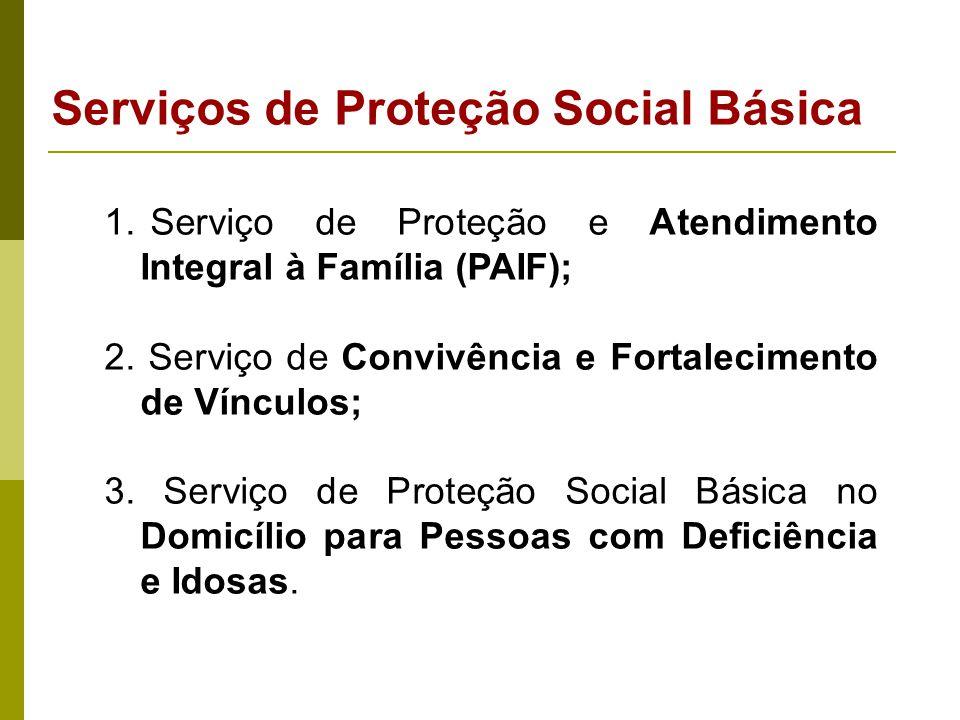 1. Serviço de Proteção e Atendimento Integral à Família (PAIF); 2. Serviço de Convivência e Fortalecimento de Vínculos; 3. Serviço de Proteção Social