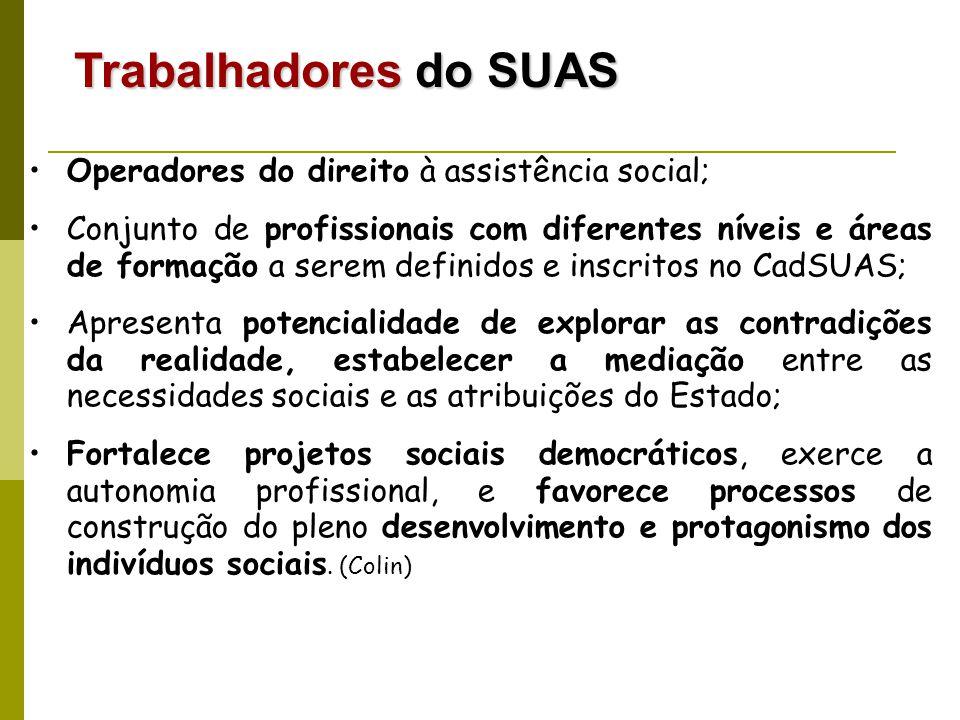 Operadores do direito à assistência social; Conjunto de profissionais com diferentes níveis e áreas de formação a serem definidos e inscritos no CadSU