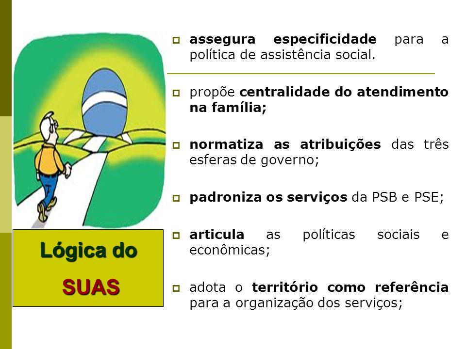 assegura especificidade para a política de assistência social. propõe centralidade do atendimento na família; normatiza as atribuições das três esfera