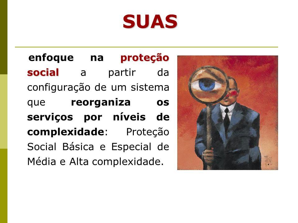 proteção social enfoque na proteção social a partir da configuração de um sistema que reorganiza os serviços por níveis de complexidade: Proteção Soci