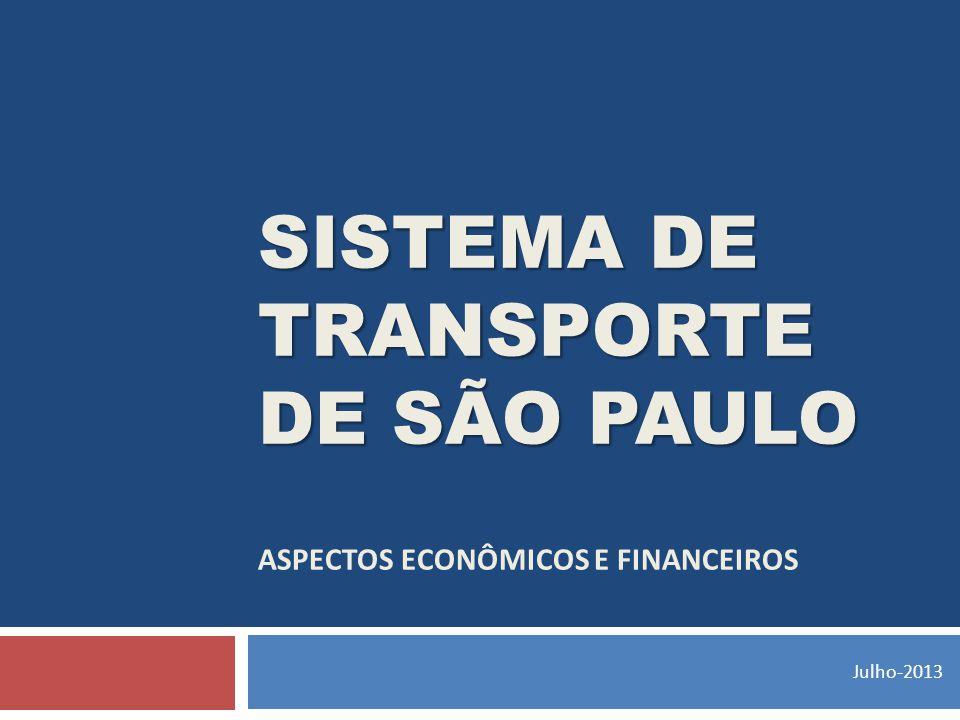 SISTEMA DE TRANSPORTE DE SÃO PAULO SISTEMA DE TRANSPORTE DE SÃO PAULO ASPECTOS ECONÔMICOS E FINANCEIROS Julho-2013