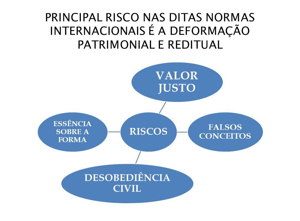 PRINCIPAL RISCO NAS DITAS NORMAS INTERNACIONAIS É A DEFORMAÇÃO PATRIMONIAL E REDITUAL RISCOS VALOR JUSTO FALSOS CONCEITOS DESOBEDIÊNCIA CIVIL ESSÊNCIA