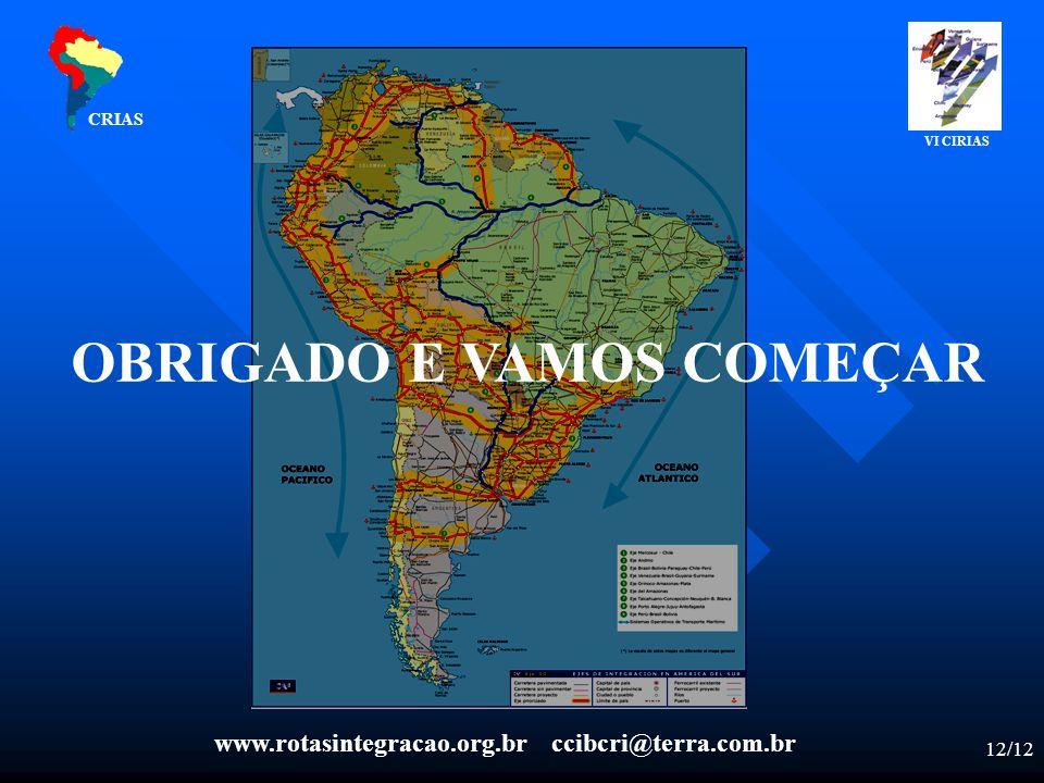 12/12 CRIAS OBRIGADO E VAMOS COMEÇAR VI CIRIAS www.rotasintegracao.org.br ccibcri@terra.com.br