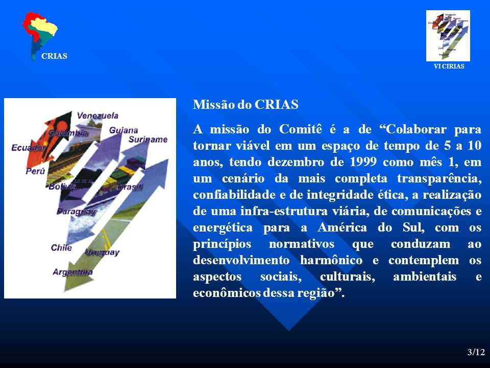 3/12 Missão do CRIAS A missão do Comitê é a de Colaborar para tornar viável em um espaço de tempo de 5 a 10 anos, tendo dezembro de 1999 como mês 1, em um cenário da mais completa transparência, confiabilidade e de integridade ética, a realização de uma infra-estrutura viária, de comunicações e energética para a América do Sul, com os princípios normativos que conduzam ao desenvolvimento harmônico e contemplem os aspectos sociais, culturais, ambientais e econômicos dessa região.