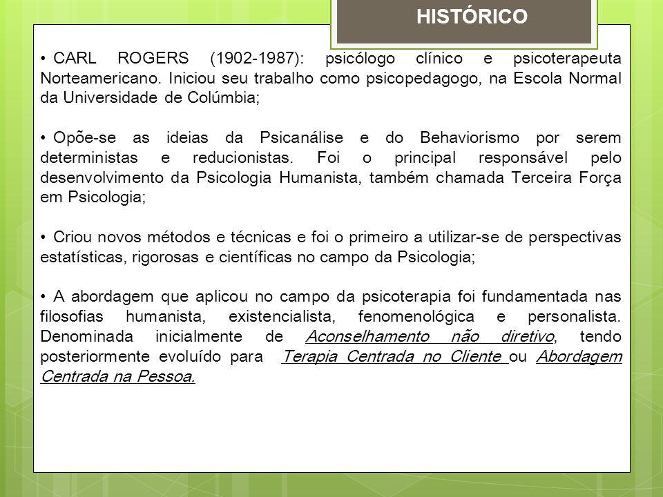 CARL ROGERS (1902-1987): psicólogo clínico e psicoterapeuta Norteamericano. Iniciou seu trabalho como psicopedagogo, na Escola Normal da Universidade