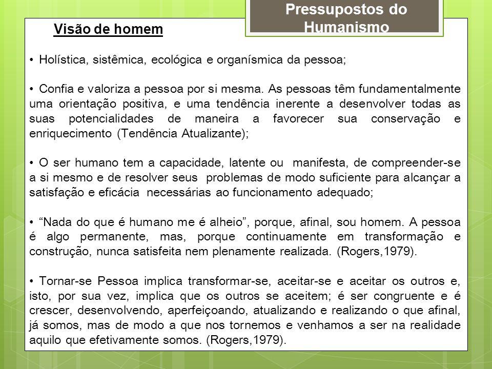 Pressupostos do Humanismo Visão de homem Holística, sistêmica, ecológica e organísmica da pessoa; Confia e valoriza a pessoa por si mesma. As pessoas
