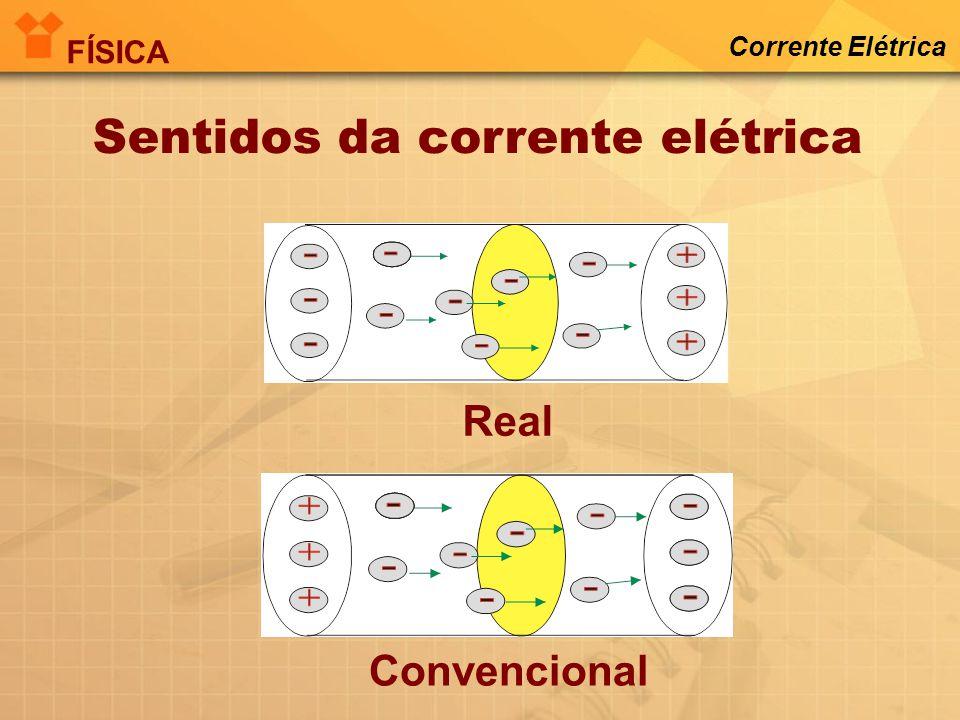 i intensidade da corrente elétrica (A) Q quantidade de carga(C) t tempo (s) Intensidade da Corrente Elétrica FÍSICA Corrente Elétrica