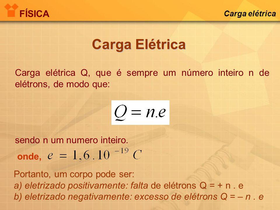 Carga elétrica Q, que é sempre um número inteiro n de elétrons, de modo que: sendo n um numero inteiro.