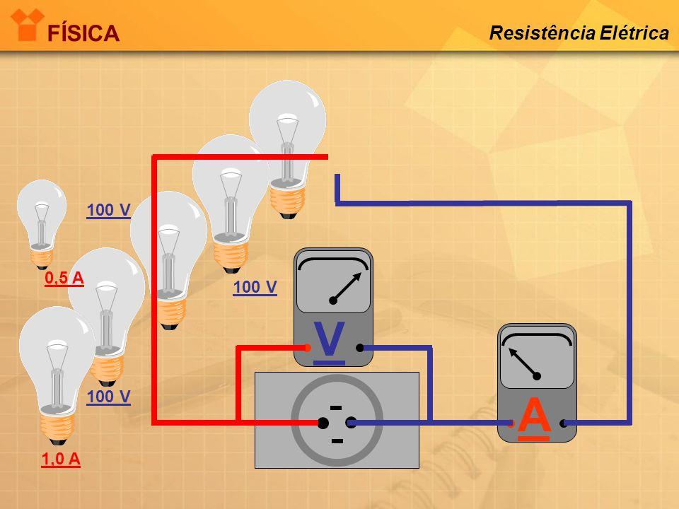 A 100 V V 0,5 A 100 V 1 A FÍSICA Resistência Elétrica