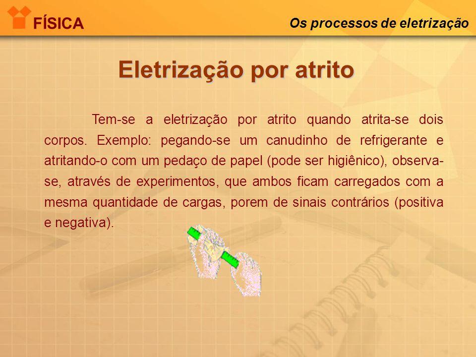 Os processos de eletrização Eletrização por atrito Tem-se a eletrização por atrito quando atrita-se dois corpos.