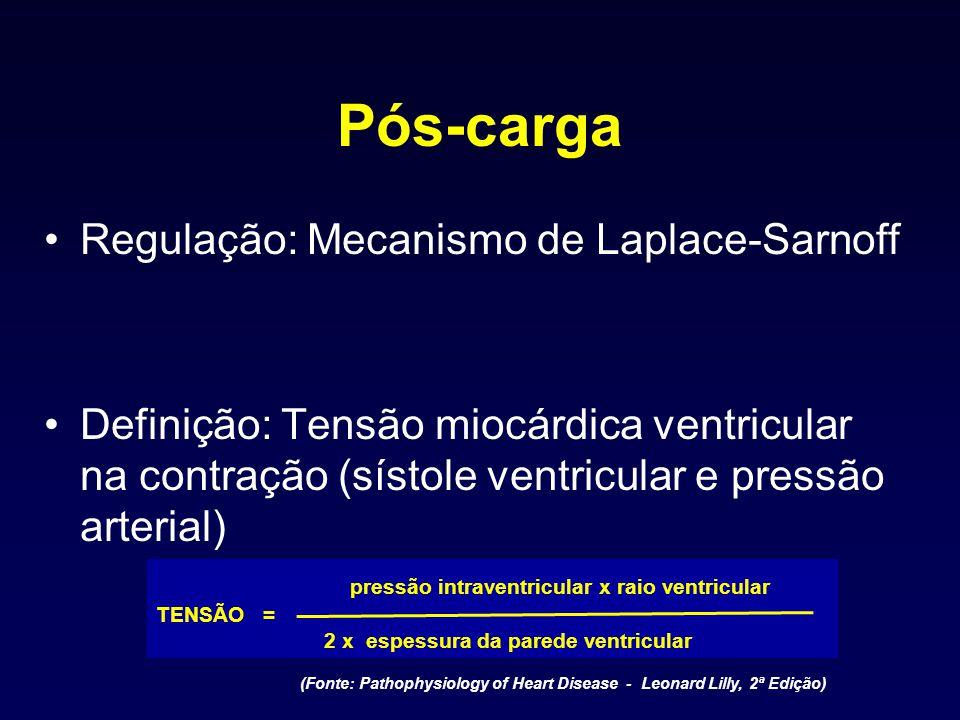 Pós-carga Regulação: Mecanismo de Laplace-Sarnoff Definição: Tensão miocárdica ventricular na contração (sístole ventricular e pressão arterial) press