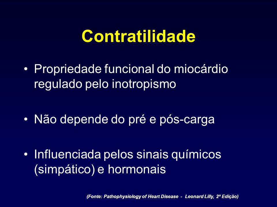Contratilidade Propriedade funcional do miocárdio regulado pelo inotropismo Não depende do pré e pós-carga Influenciada pelos sinais químicos (simpáti