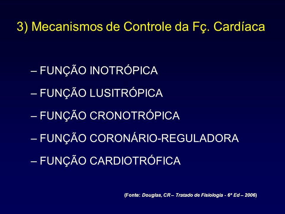 3) Mecanismos de Controle da Fç. Cardíaca –FUNÇÃO INOTRÓPICA –FUNÇÃO LUSITRÓPICA –FUNÇÃO CRONOTRÓPICA –FUNÇÃO CORONÁRIO-REGULADORA –FUNÇÃO CARDIOTRÓFI
