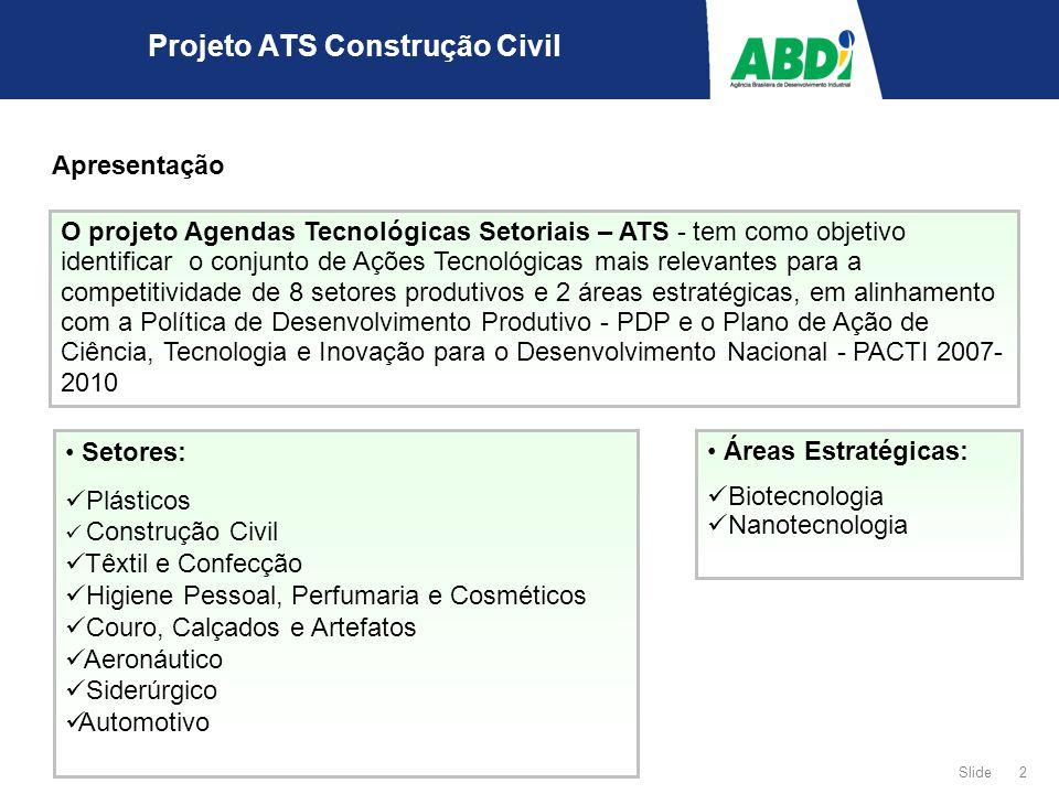 2 Slide Projeto ATS Construção Civil Apresentação O projeto Agendas Tecnológicas Setoriais – ATS - tem como objetivo identificar o conjunto de Ações T