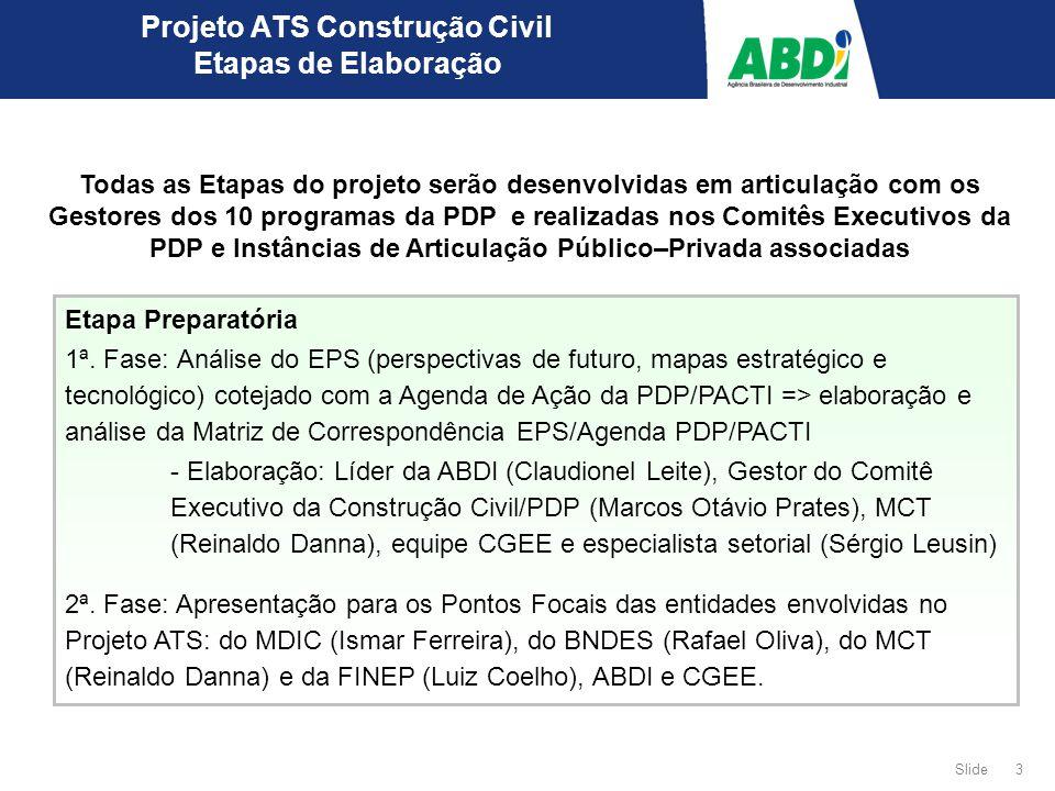 4 Slide Projeto ATS Construção Civil Etapas de Elaboração 1ª Etapa 1 - Apresentação da metodologia do Projeto ATS e da Matriz de Correspondência EPS/Agenda de Ação da PDP/PACTI para o Comitê Executivo da PDP - Apresentação da metodologia do projeto ATS e da Matriz de Correspondência EPS/Agenda de Ação da PDP/PACTI, para a Instância de Articulação Público- Privada da PDP para identificação das Ações Tecnológicas.