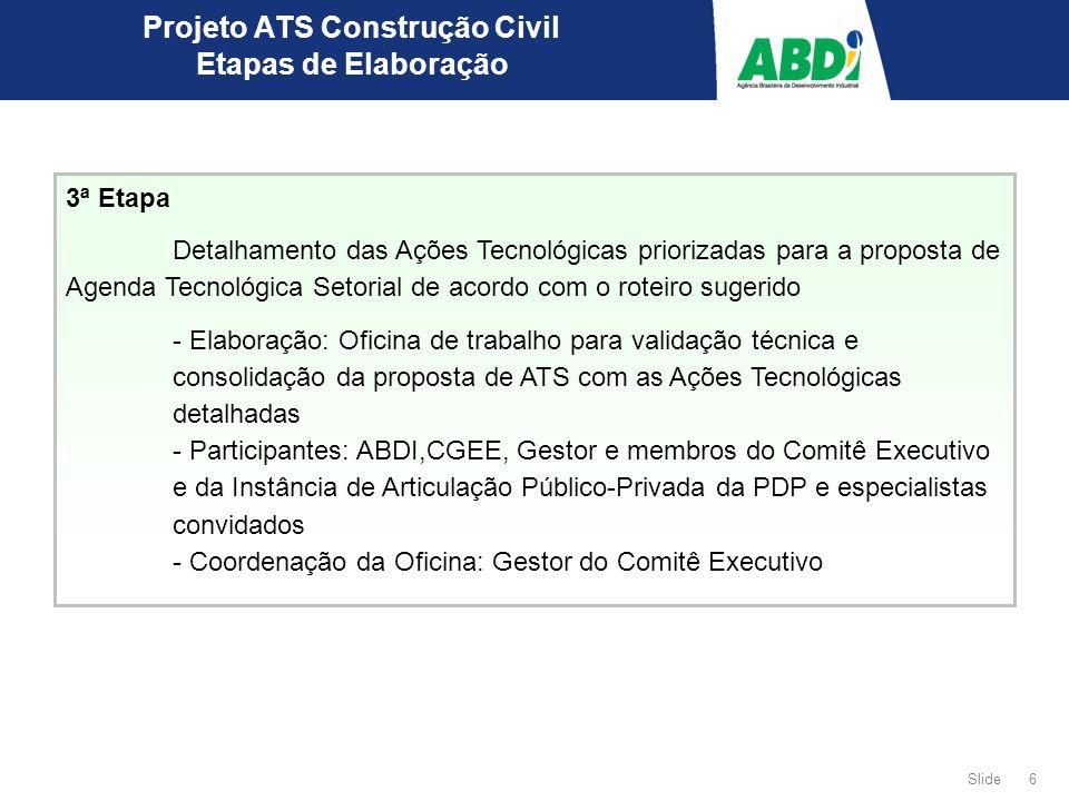 6 Slide 3ª Etapa Detalhamento das Ações Tecnológicas priorizadas para a proposta de Agenda Tecnológica Setorial de acordo com o roteiro sugerido - Ela