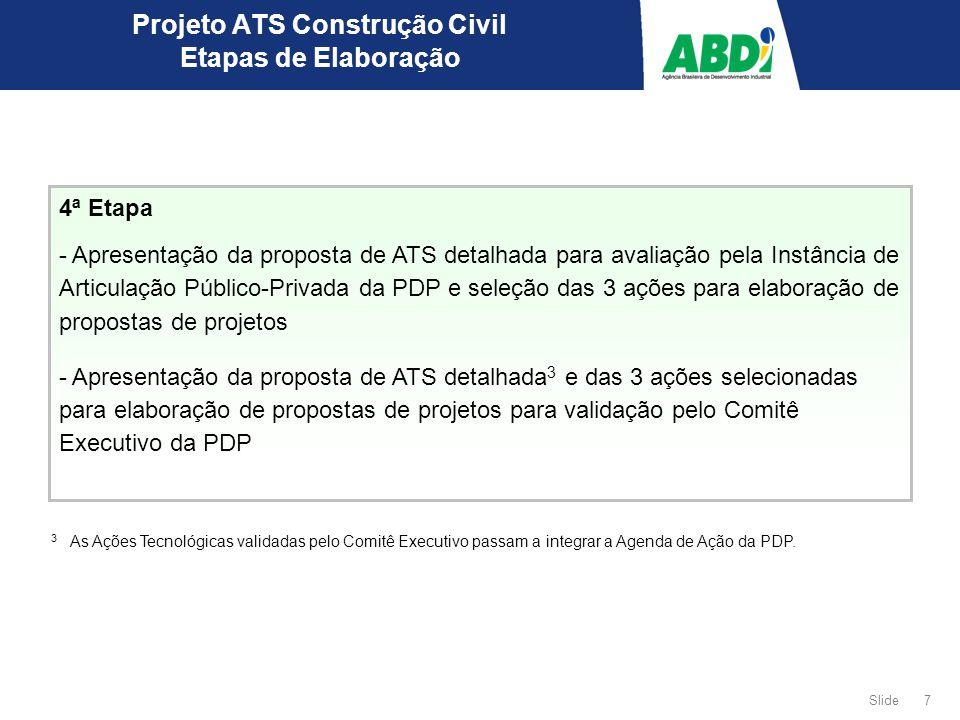7 Slide 4ª Etapa - Apresentação da proposta de ATS detalhada para avaliação pela Instância de Articulação Público-Privada da PDP e seleção das 3 ações