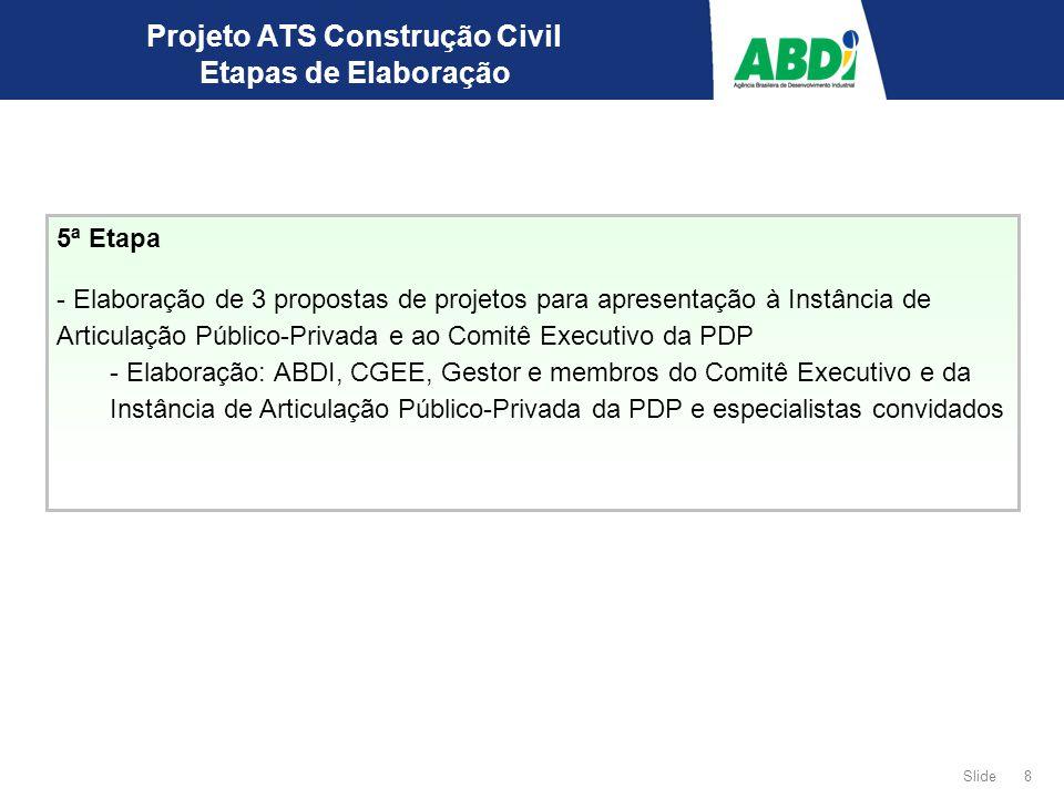 Slide 9 Projeto ATS Construção Civil Cronograma ETAPAS ago/09set/09out/09nov/09 12345123451234512345 Etapa Preparatória 1ª.