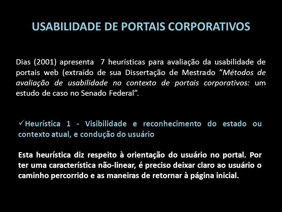 USABILIDADE DE PORTAIS CORPORATIVOS Dias (2001) apresenta 7 heurísticas para avaliação da usabilidade de portais web (extraído de sua Dissertação de M