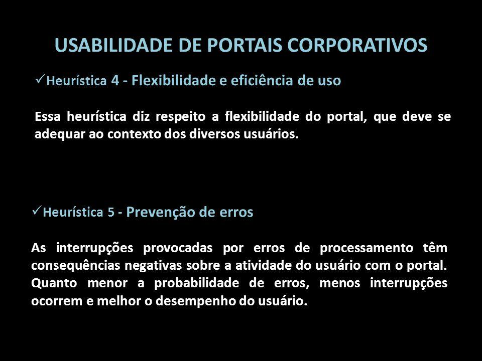 USABILIDADE DE PORTAIS CORPORATIVOS Heurística 5 - Prevenção de erros As interrupções provocadas por erros de processamento têm consequências negativa
