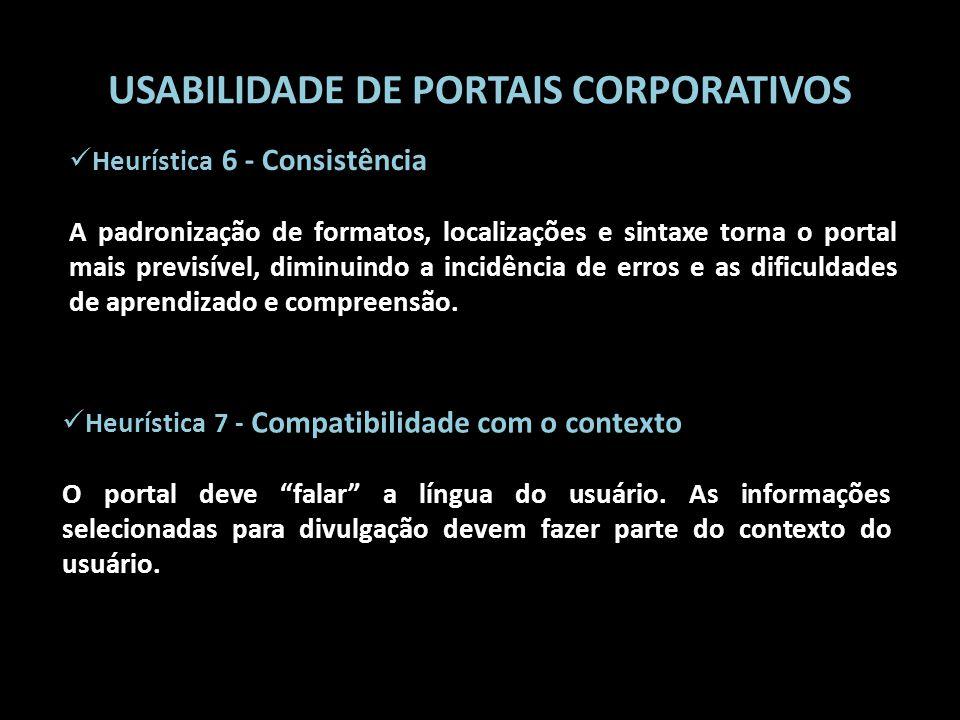 USABILIDADE DE PORTAIS CORPORATIVOS Heurística 7 - Compatibilidade com o contexto O portal deve falar a língua do usuário. As informações selecionadas