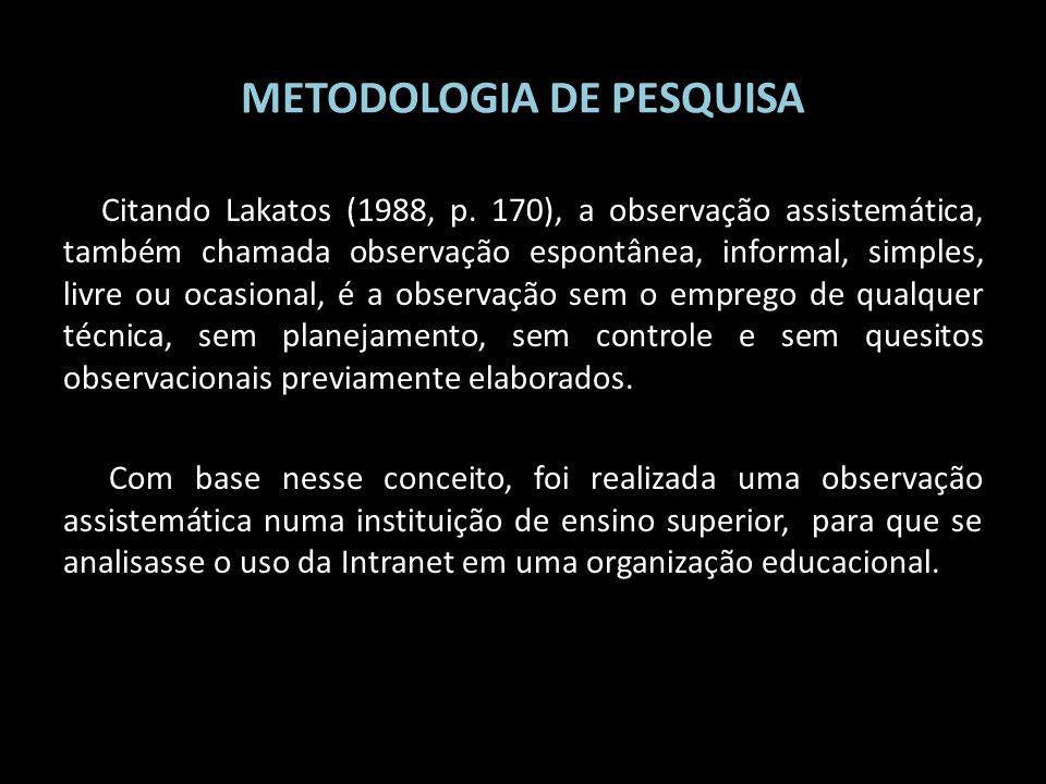 METODOLOGIA DE PESQUISA Citando Lakatos (1988, p. 170), a observação assistemática, também chamada observação espontânea, informal, simples, livre ou