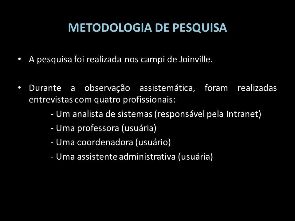 METODOLOGIA DE PESQUISA A pesquisa foi realizada nos campi de Joinville. Durante a observação assistemática, foram realizadas entrevistas com quatro p