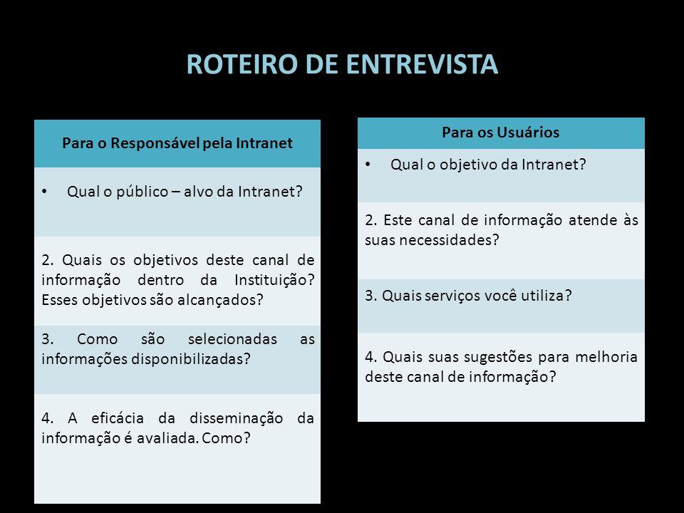 ROTEIRO DE ENTREVISTA Para o Responsável pela Intranet Qual o público – alvo da Intranet? 2. Quais os objetivos deste canal de informação dentro da In