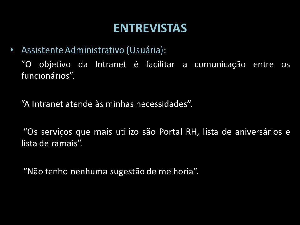 ENTREVISTAS Assistente Administrativo (Usuária): O objetivo da Intranet é facilitar a comunicação entre os funcionários. A Intranet atende às minhas n