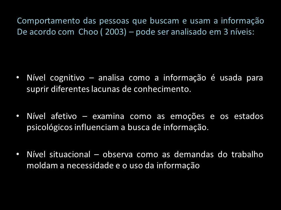 Comportamento das pessoas que buscam e usam a informação De acordo com Choo ( 2003) – pode ser analisado em 3 níveis: Nível cognitivo – analisa como a