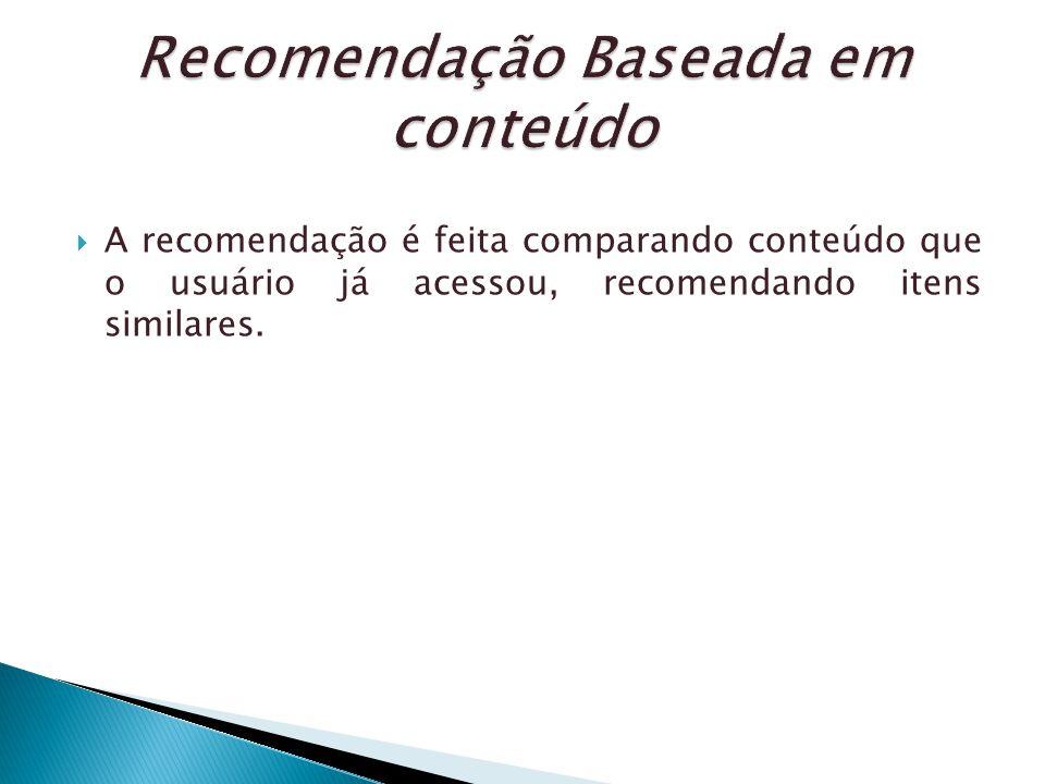 A recomendação é feita comparando conteúdo que o usuário já acessou, recomendando itens similares.