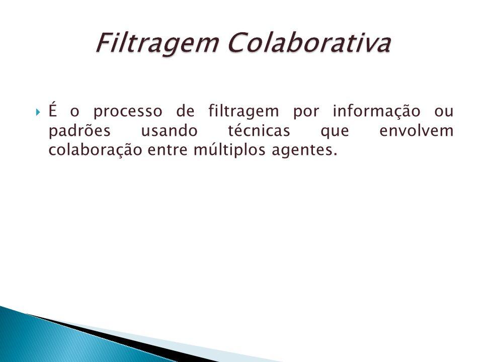 É o processo de filtragem por informação ou padrões usando técnicas que envolvem colaboração entre múltiplos agentes.