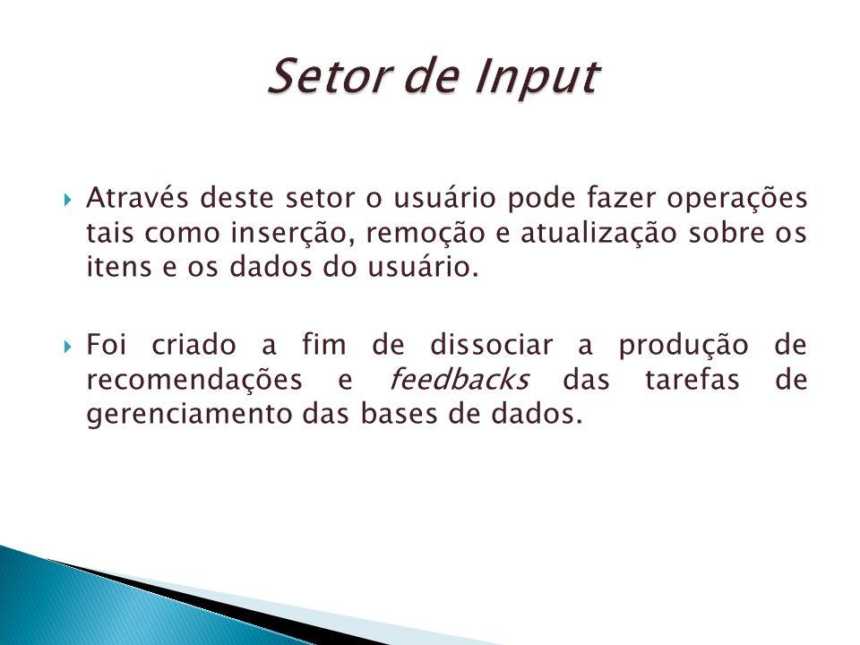 Através deste setor o usuário pode fazer operações tais como inserção, remoção e atualização sobre os itens e os dados do usuário. Foi criado a fim de