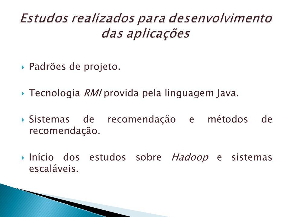 Padrões de projeto. Tecnologia RMI provida pela linguagem Java. Sistemas de recomendação e métodos de recomendação. Início dos estudos sobre Hadoop e