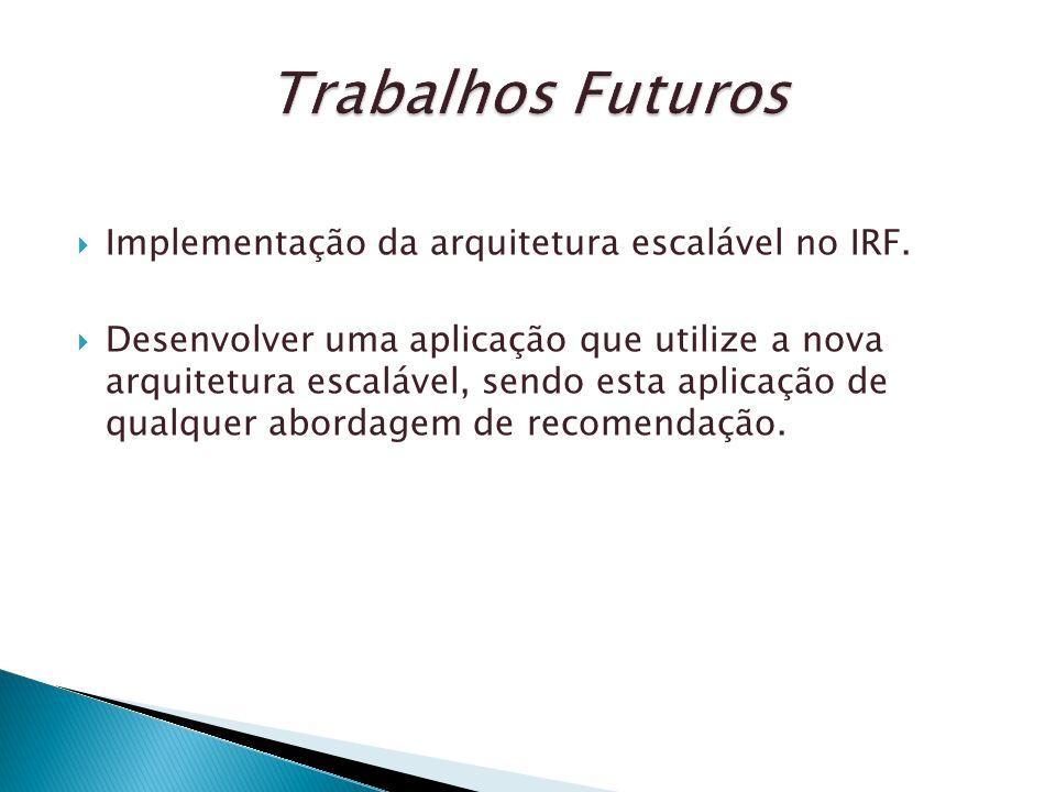 Implementação da arquitetura escalável no IRF. Desenvolver uma aplicação que utilize a nova arquitetura escalável, sendo esta aplicação de qualquer ab