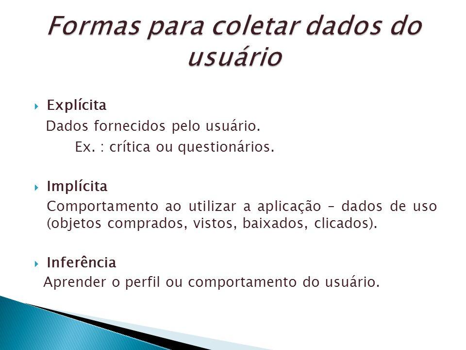 Explícita Dados fornecidos pelo usuário. Ex. : crítica ou questionários. Implícita Comportamento ao utilizar a aplicação – dados de uso (objetos compr