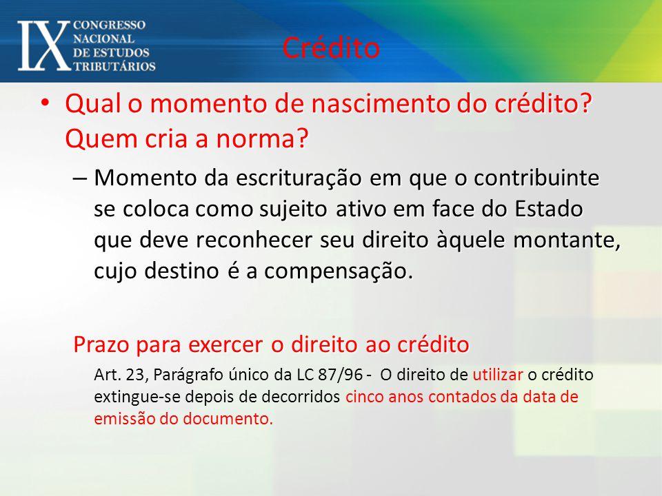 Crédito Qual o momento de nascimento do crédito? Quem cria a norma? Qual o momento de nascimento do crédito? Quem cria a norma? – Momento da escritura