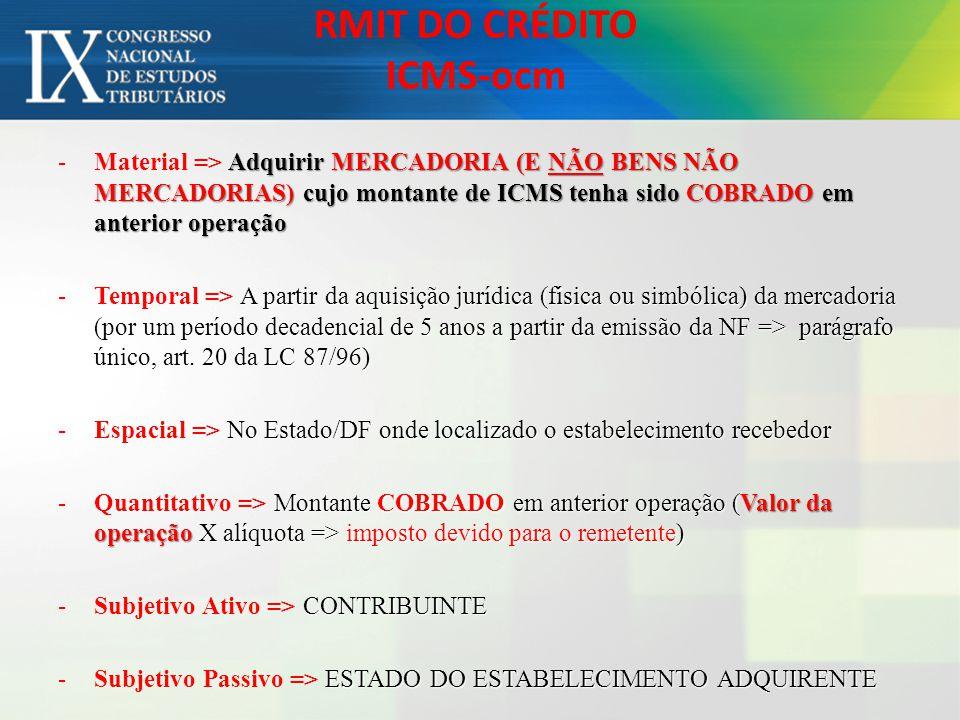 RMIT DO CRÉDITO ICMS-ocm Adquirir MERCADORIA (E NÃO BENS NÃO MERCADORIAS) cujo montante de ICMS tenha sido COBRADO em anterior operação -Material => A
