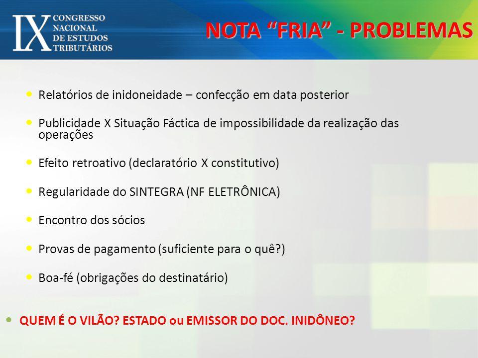 NOTA FRIA - PROBLEMAS Relatórios de inidoneidade – confecção em data posterior Publicidade X Situação Fáctica de impossibilidade da realização das ope
