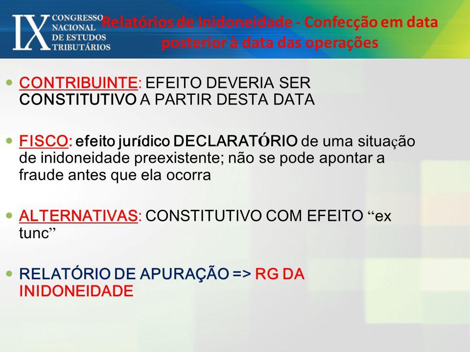 Relatórios de Inidoneidade - Confecção em data posterior à data das operações CONTRIBUINTE: EFEITO DEVERIA SER CONSTITUTIVO A PARTIR DESTA DATA FISCO: