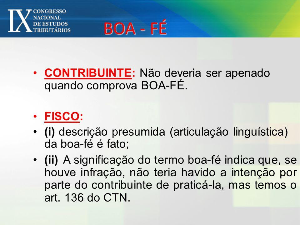 BOA - FÉ CONTRIBUINTE: Não deveria ser apenado quando comprova BOA-FÉ. FISCO: (i) descrição presumida (articulação linguística) da boa-fé é fato; (ii)