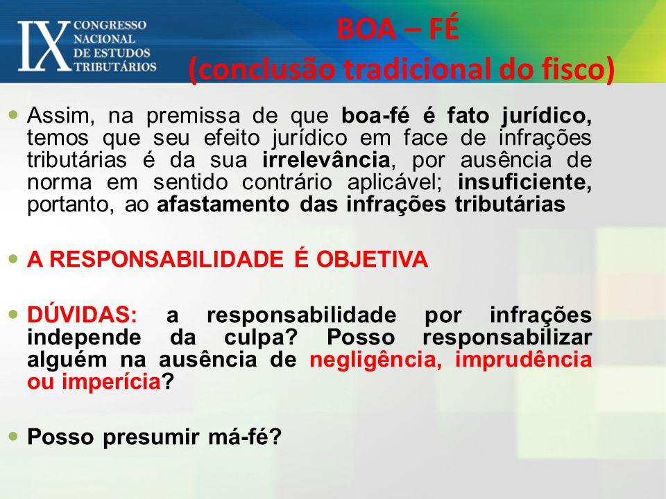 BOA – FÉ (conclusão tradicional do fisco) Assim, na premissa de que boa-fé é fato jurídico, temos que seu efeito jurídico em face de infrações tributá
