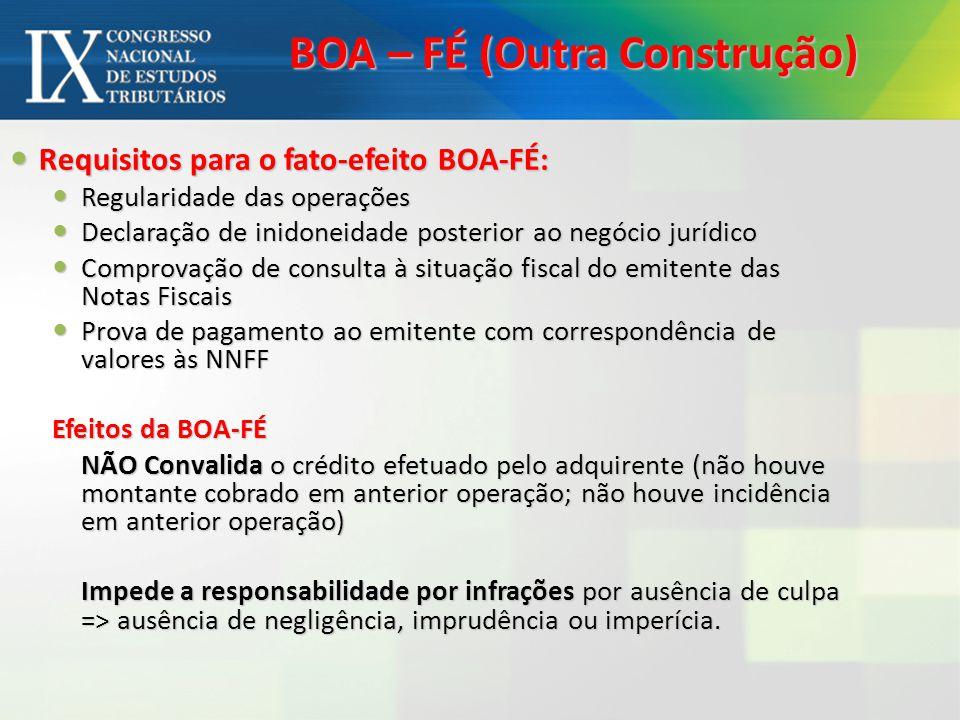 BOA – FÉ (Outra Construção) Requisitos para o fato-efeito BOA-FÉ: Requisitos para o fato-efeito BOA-FÉ: Regularidade das operações Regularidade das op